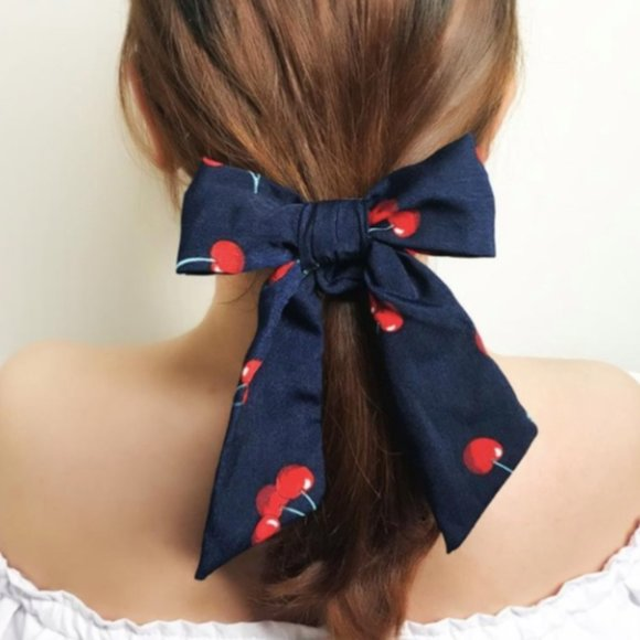 None Accessories - Navy Cherry Pattern Print Hair Scarf Bow Scrunchie
